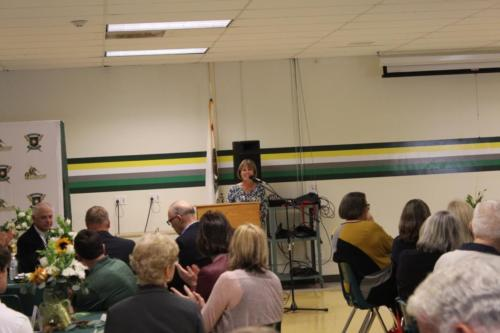 Principal Jennifer Graves welcoming all to the banquet.